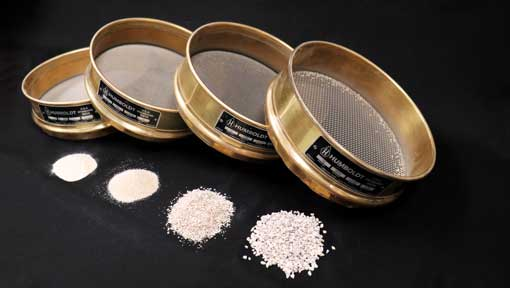 Sieve tests for sand particle sizes